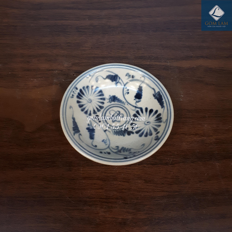 Đĩa Gia Vị Vẽ Hoa Cúc Chàm P9 1