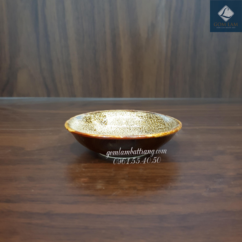 Đĩa muối men gấm vàng