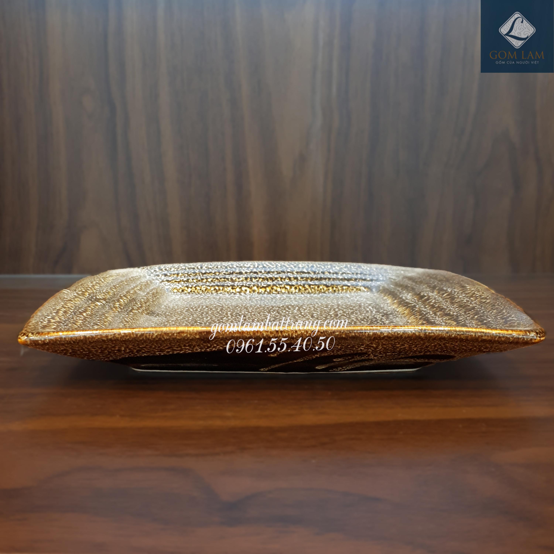 Khay vuông dải lụa men gấm vàng dài 25cm