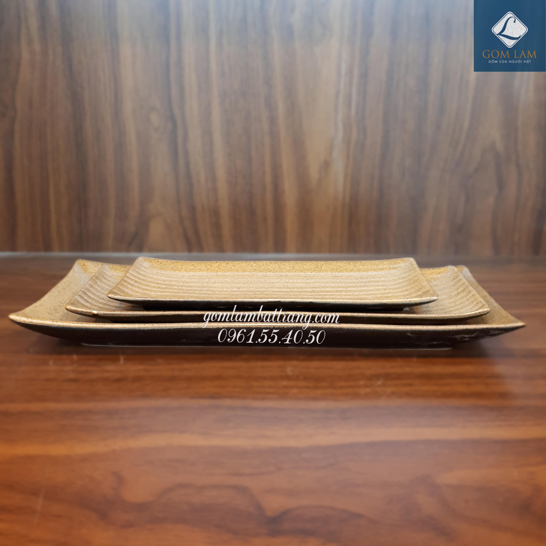 Khay nâu gốm dài 38cm 1