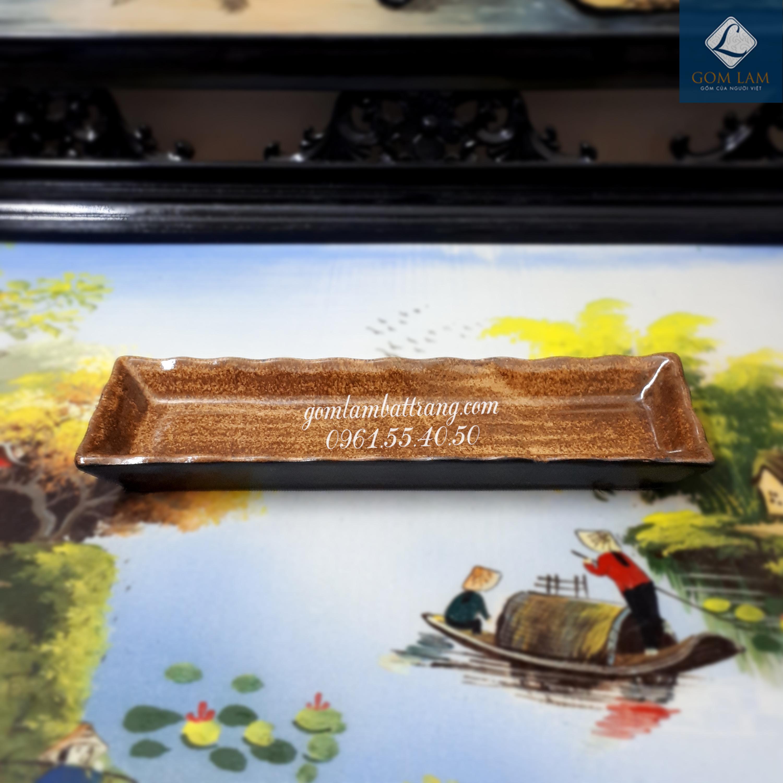 Khay chữ nhật 1 ngăn nhỏ men da lươn 1