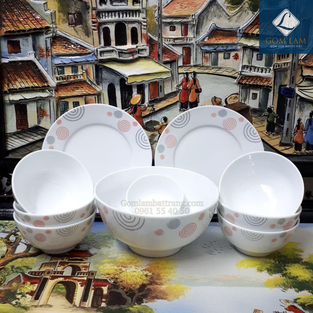 Bộ đồ ăn sứ trắng họa tiết vẽ Sò 10 món
