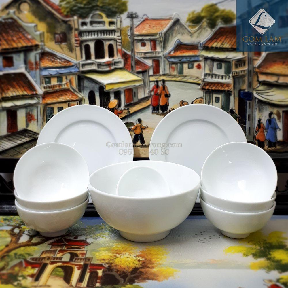 Bộ đồ ăn sứ trắng 10 sản phẩm