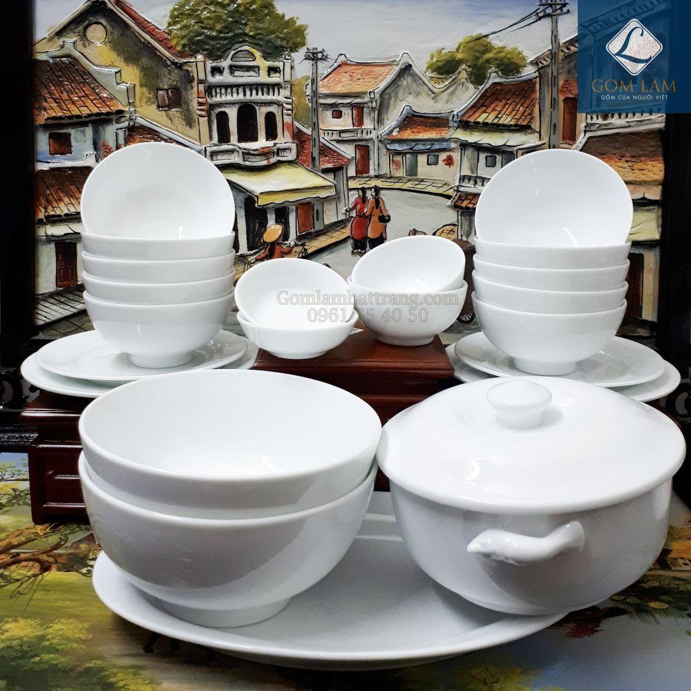 Bộ đồ ăn sứ trắng cao cấp 22 món