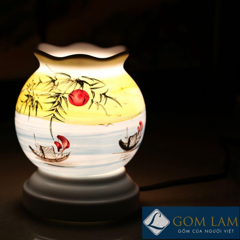 Đèn xông tinh dầu vẽ đồng quê Gốm Lam