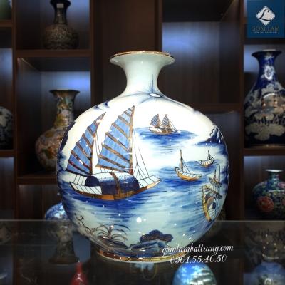 Bình Hút Lộc Vẽ Vàng 24K Thuận Buồm Xuôi Gió Lam