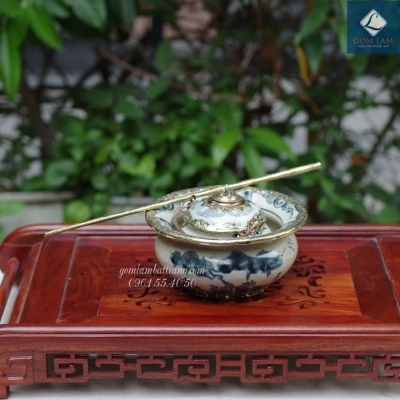 Bát điếu Men rạn Bọc đồng dáng Nhật vẽ Sơn Thủy