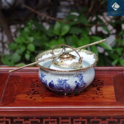 Bát điếu Men Lam cổ Bọc đồng vẽ Thất Hiền