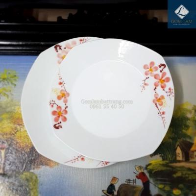 Đĩa vuông vẽ Hoa Đào Tết Đường kính 22