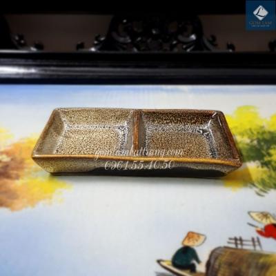 Khay chữ nhật 2 ngăn Men Gấm vàng