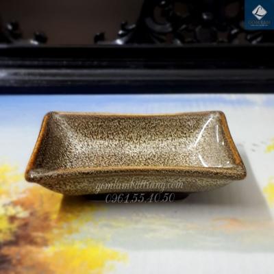 Khay muối Men Gấm vàng