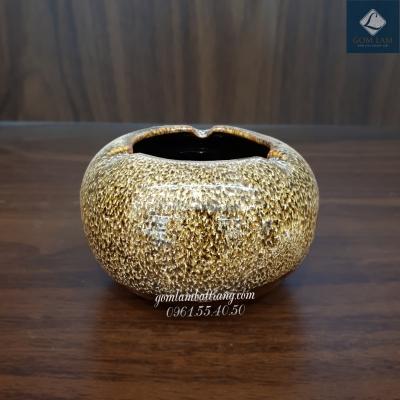 Gạt tàn cao men gấm vàng