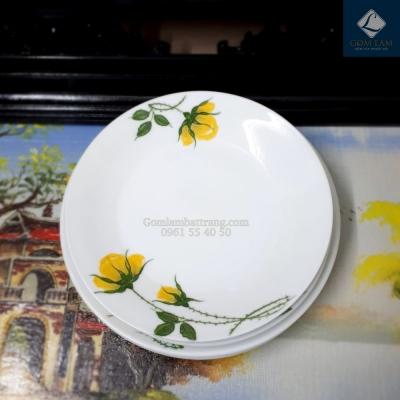 Đĩa tròn hoa hồng vàng phi 16