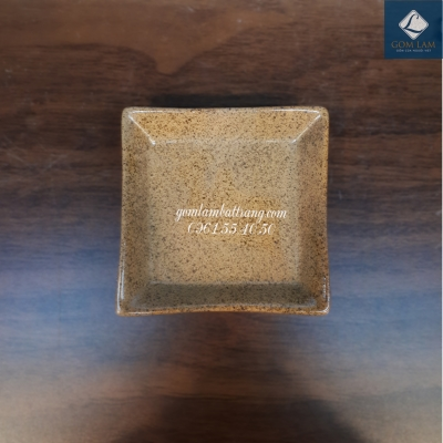 Khay muối vuông nâu gốm 8cm