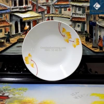 Đĩa tròn sen vàng P26