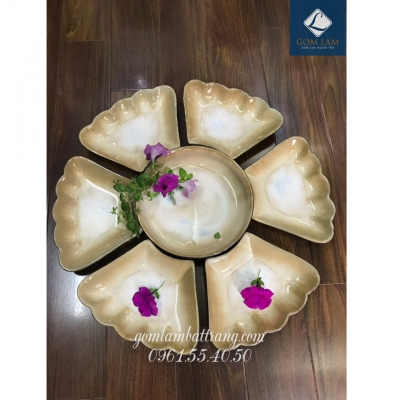 SET bát đĩa hoa 7 món men nâu số 2