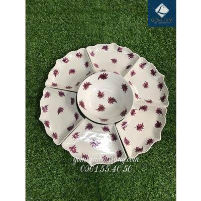 SET bát đĩa hoa 7 món sứ trắng vẽ lá số 1