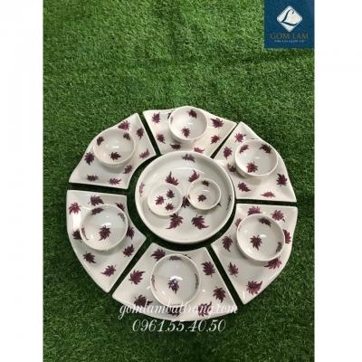 SET bát đĩa hoa 15 món sứ trắng vẽ lá số 4