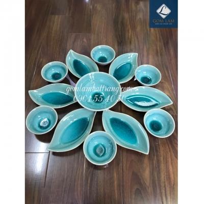SET bát đĩa hoa 13 món men ngọc số 5