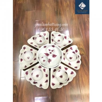 SET bát đĩa hoa 15 món sứ trắng vẽ lá số 2
