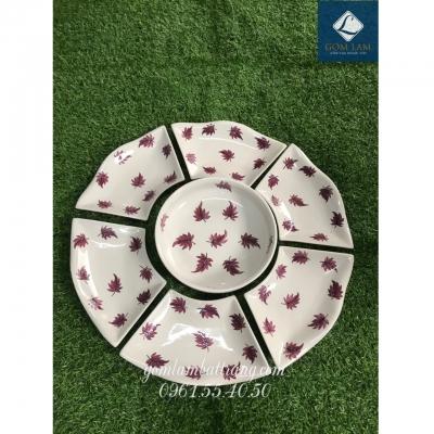 SET bát đĩa hoa 7 món sứ trắng vẽ lá số 4