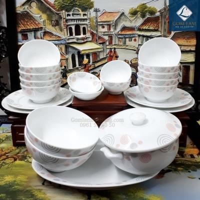 Bộ đồ ăn sứ trắng họa tiết vẽ Sò 22 món