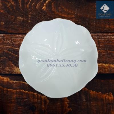 Đĩa bèo sứ trắng cao cấp P18