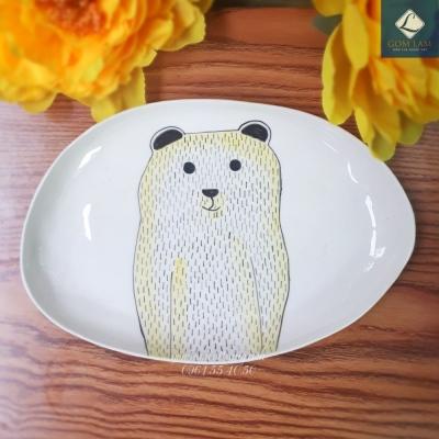 Đĩa bầu dục vẽ Gấu