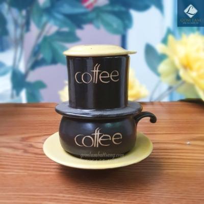 Phin cà phê da lươn nắp vàng