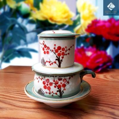 Phin cà phê vuốt tay vẽ hoa đào