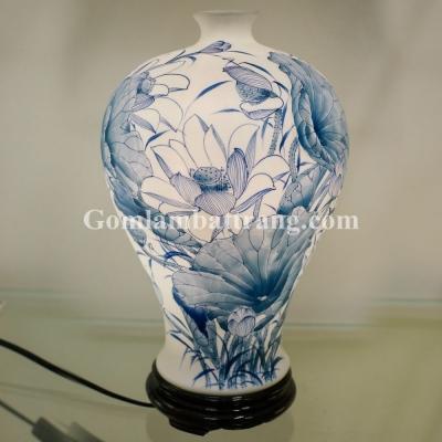 Đèn sứ thấu quang GLAM trắng vẽ Sen Lam