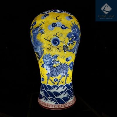 Tứ Linh - Đèn sứ thấu quang dáng Mai Bình