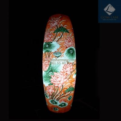 Đèn sứ thấu quang GLAM Trụ Hoa Sen màu cam