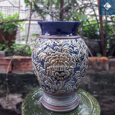 Lọ hoa Hoàng thổ Chân cao xanh