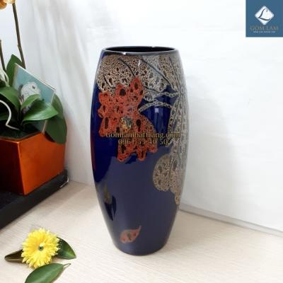 Lọ bom Xanh Lam vẽ Sen
