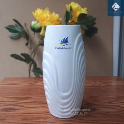 Lọ hoa Sứ trắng Bom Sóng S2 in Logo