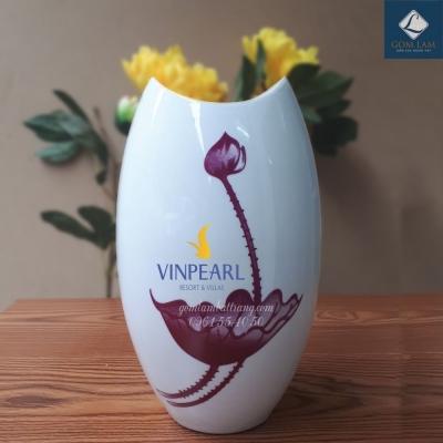 Lọ hoa Sứ trắng Miệng cá Sen S3 in Logo