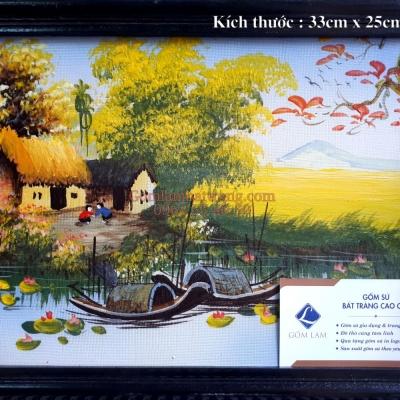 Tranh sứ Làng quê Sông nước ( 33 x 25)