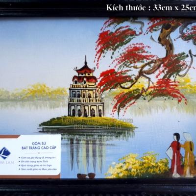 Tranh sứ Tháp Rùa ( 33x25)