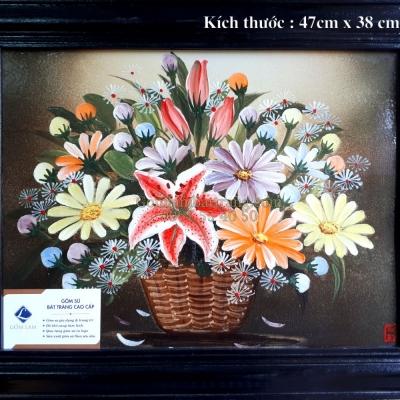 Tranh sứ vẽ Lọ hoa ( 47x38)