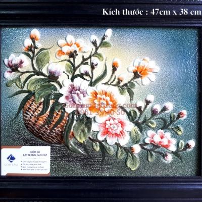 Tranh sứ Vẽ Giỏ Hoa Nghiêng