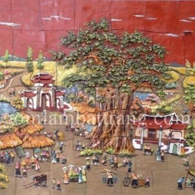 Tranh gốm Đồng quê 2