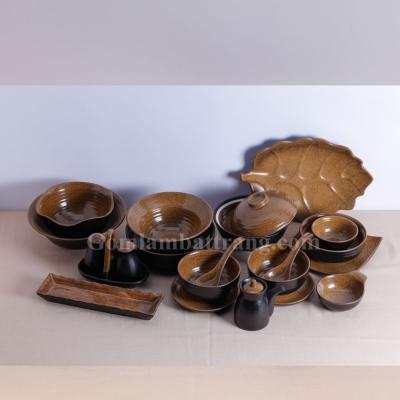 Bộ đồ ăn Men da lươn