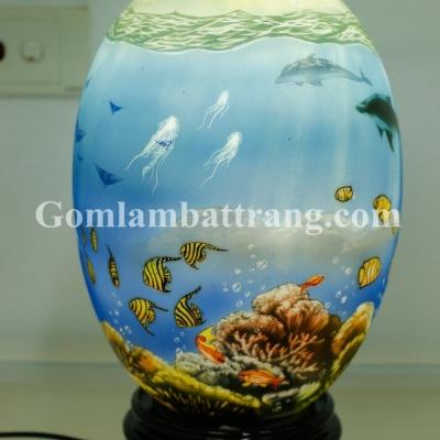 Đèn sứ thấu quang GLAM Trứng vẽ Đại Dương