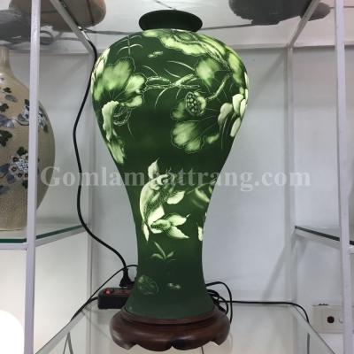 Đèn sứ thấu quang GLAM Eo xanh lục vẽ Sen Cá