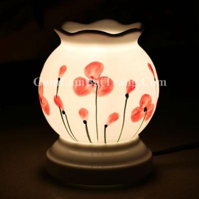 Đèn xông tinh dầu tròn nhỏ vẽ hoa