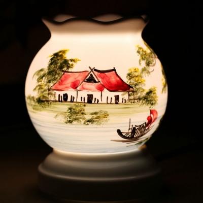 Đèn xông tinh dầu tròn nhỏ vẽ đồng quê